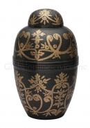 Windsor Black Large Adult Floral Urn for Funeral Human Ashes